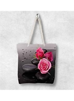 Else Halı Pembe Güllü Çiçekli 3D Desenli Fermuarlı Kumaş Omuz Çantası
